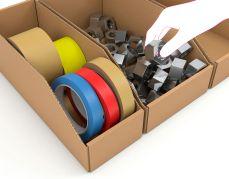 Kartonnen sorteerdozen van stevig enkel golfkarton met lagere voorzijde